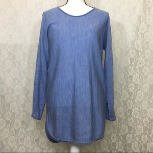 Max studio 100% merino wool blue crewneck sweater